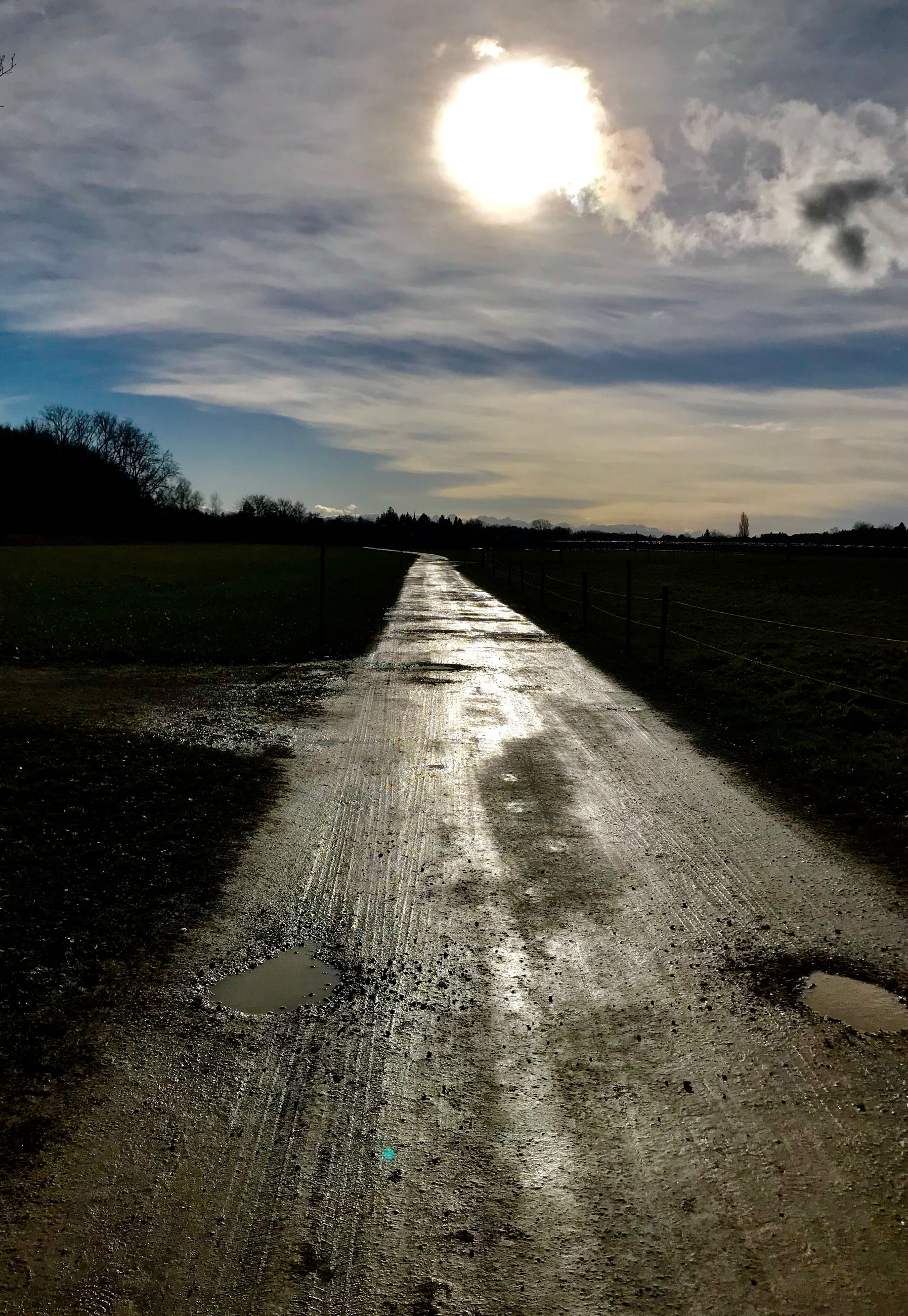sky, sun, nature, cloud - sky, no people, outdoors, sunlight, sunset, water, scenics, road, beauty in nature, landscape, day, tree