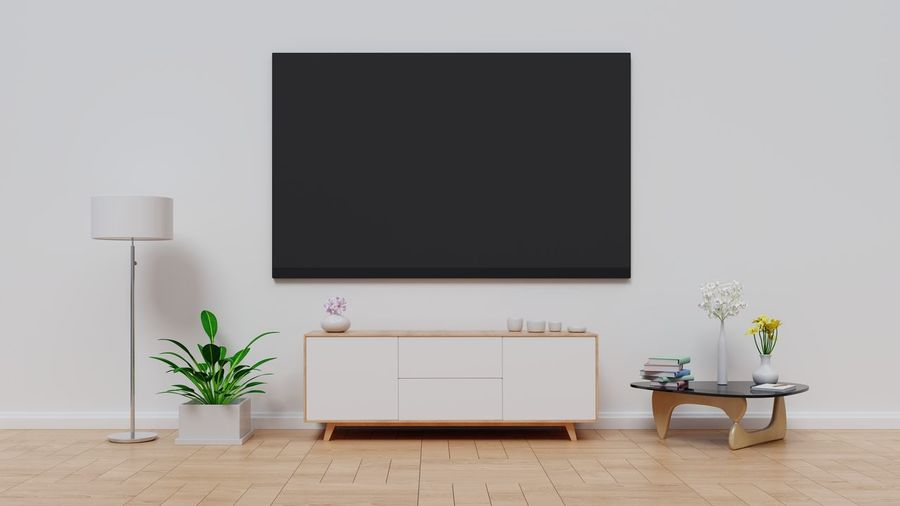 TV in modern empty room white wall background. 3D rendering. Absence Domestic Room Flat Screen Flooring Flower Flower Pot Flowering Plant Furniture Hardwood Floor Home Interior Indoors  Liquid-crystal Display Living Room Modern Nature No People Plant Potted Plant Seat Table Technology Television Set Vase Wall - Building Feature Wood
