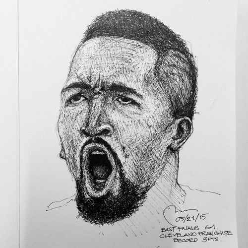 Yesterday's win. Jr Smith Cleveland frapnchie playoffs record for most 3s made. Cleveland Cavs Cavsnation Cavaliers NBA Playoffs Sketch Portrait Drawing Monochrome