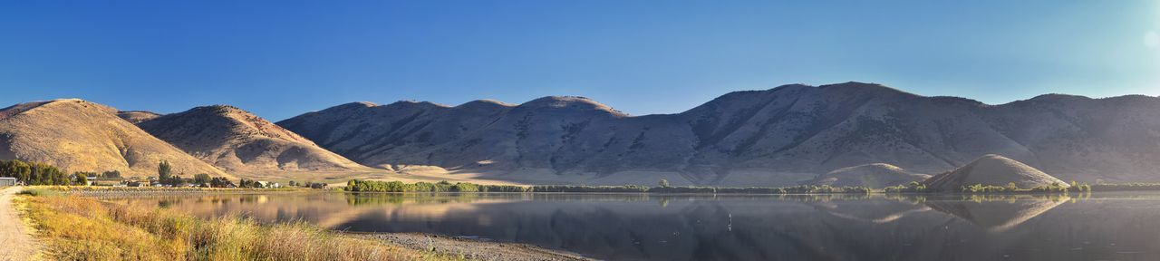 Panoramic view of lake and mountains against clear blue sky