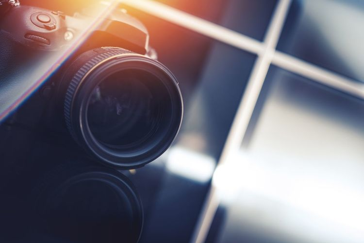 Digital Camera Concept. Professional Photo Equipment Studio Shot Camera - Photographic Equipment Close-up Day Film Industry Lens - Eye No People Photo Lens Photographer Photography Themes Red Reflection Technology