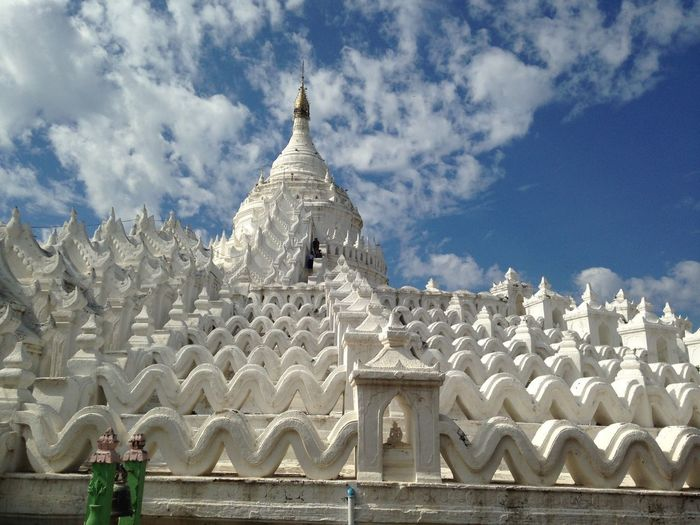 White pagoda Travel Photography Pagoda Architecture Art And Craft Belief Building Building Exterior Built Structure Cloud - Sky Day Nature No People Outdoors Place Of Worship Religion Sculpture Sky Spire  Spirituality Travel Destinations White