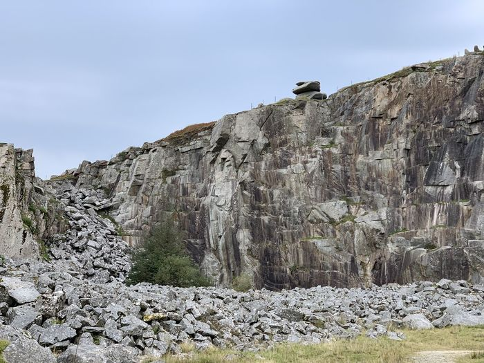 Rock formation on land against sky