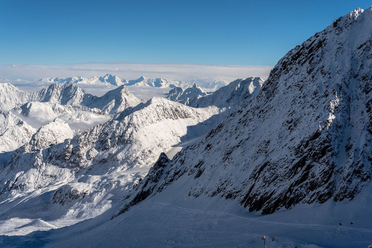 The beautiful Stubai Valley in Tyrol, Austria. It is a winter wonderland on the glacier and the winter season is on. Austria Beauty In Nature Cold Temperature Landscape Mountain Mountain Peak Mountain Range Nature Outdoors Scenics Snow Snowcapped Mountain Stubaital Winter