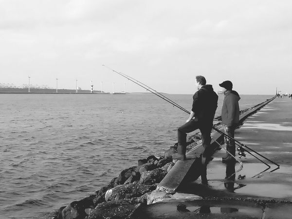 Monochrome Peoplephotography Enjoying Life Hoekvanholland Fishing Time Seaside Dockside