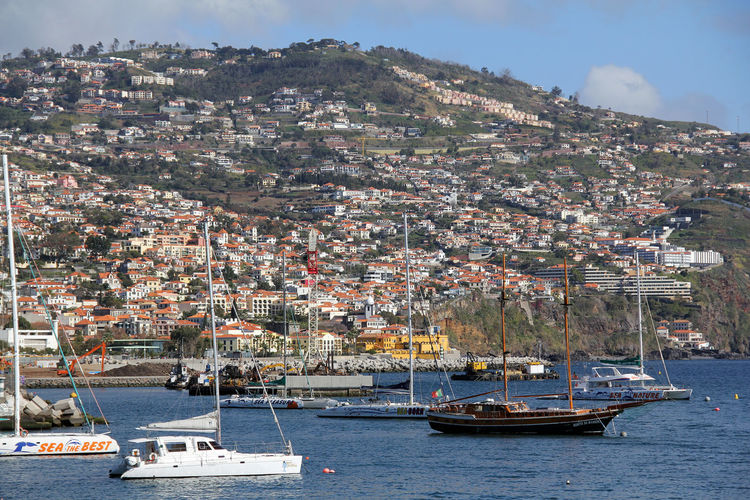 Architecture Building Exterior City Cityscape Day Funchal Harbor Houses Madeira Mast Moored Nature Nautical Vessel No People Outdoors Sailboat Sea Sky Travel Travel Destinations Water