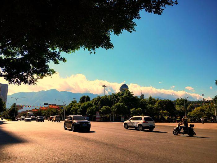 Tree Car Land Vehicle Cloud - Sky Transportation Sky Day No People Shadow Outdoors