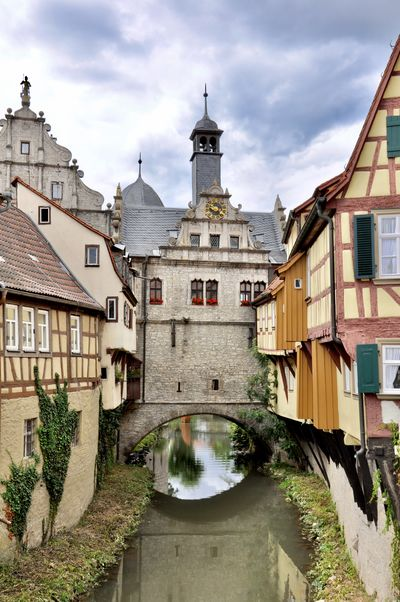 Bavaria Timbered Architecture Building Exterior Built Structure Facades Historical History Medieval Architecture Medieval City No People Outdoors Reflection Reflection In The Water River Rustic Shutters Timbered House Travel Water