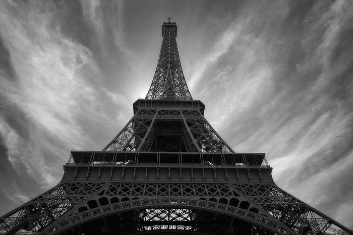 Paris Eiffel_tower  First Eyeem Photo From A Bird's Eye-view Eiffel Tower Blackandwhite B&w France Architecture Low Angle View Dramatic Sky Tower Tourism Architecture_collection Architecturelovers Black And White