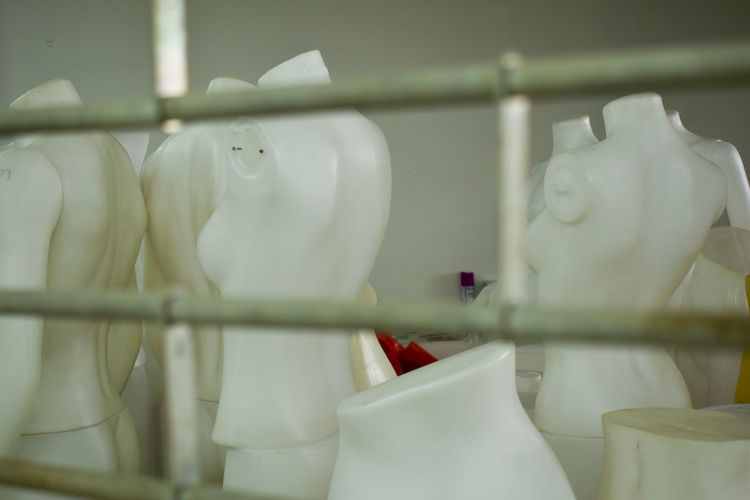 Close-up of white objects for sale in store