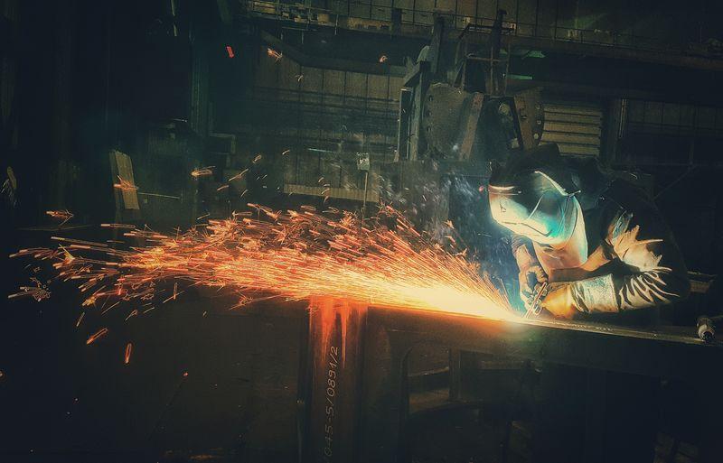 ... Steel Structure  Fabric Reflection Lights Shadows Shadow Ndt Work Welder Heat - Temperature Indoors  Metal Industry