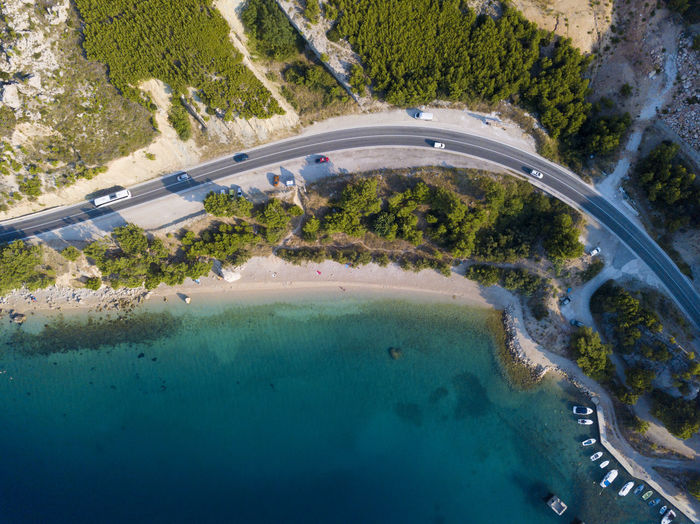 Amazing view of Makarska Riviera in Croatia Water Nature Outdoors Makarska Sea Seascape Coastline Croatia Vacations Drone  Sand Blue Holydays Riviera Emerald Aerial View Wawes Sailing Boat Hrvatska Travel Trip Relaxing