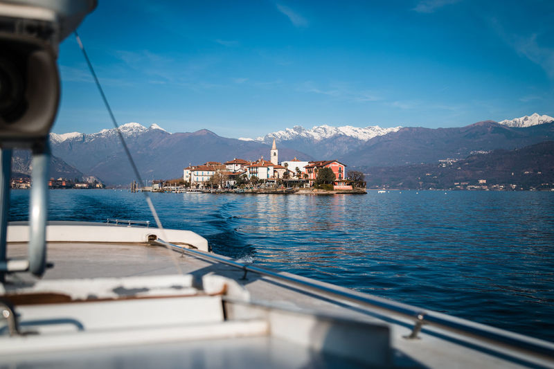 Borromee island on lake maggiore seen from the boat carrying tourists