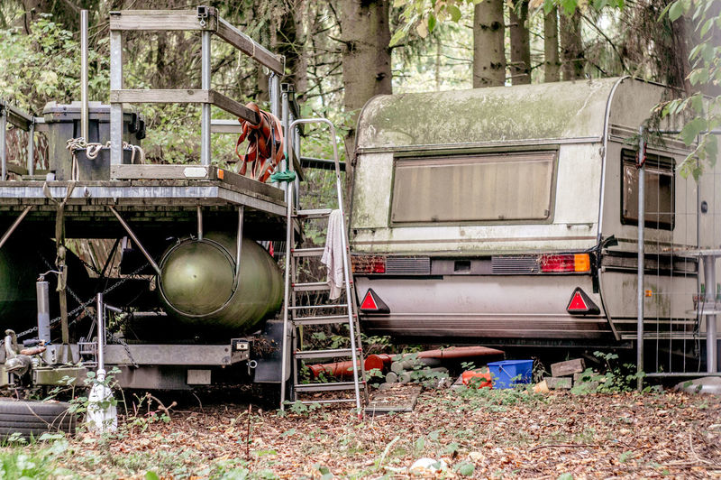 Old Caravan In Forest