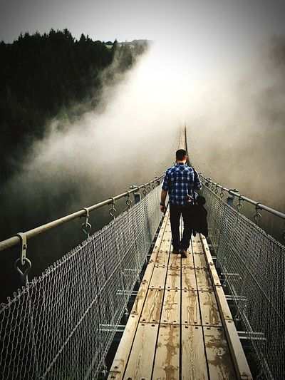 Summerevenings Overthebridge Real People Railing Rear View Men Outdoors Full Length Travel Bridge - Man Made Structure Suspension Bridge Go Higher