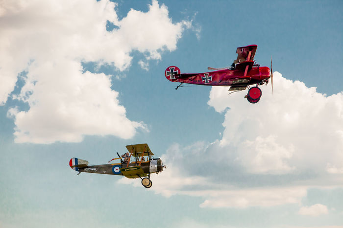 Air Battle Air Planes Air Show Cloudy Sky Fighter Plane First World War France Historical Reconstruction Historical Reenactment Iron Cross Old Fashioned Old Planes Period Costume Red Baron