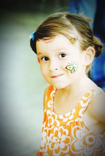 Childhood Cute Innocence Painted Face Girl