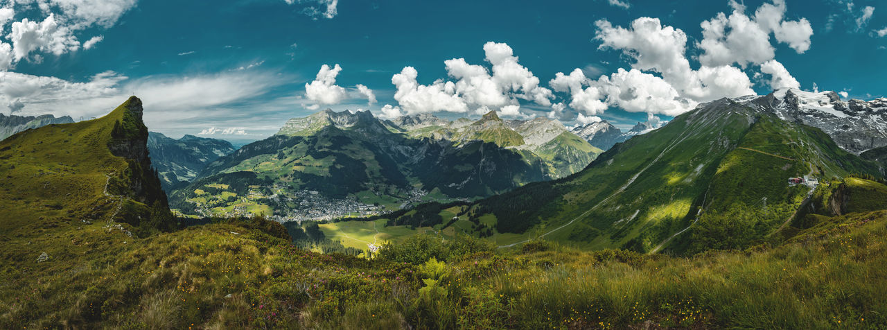 Panorama shot of Swiss Landscape, Engelberg, Switzerland. A perfect Stay Out moment because it is liberating and free setting to reach the summit of a mountain. Stay Out Switzerland Swiss Alps Engelberg Titlis,Switzerland Summit Cross Mountain Range Lost In The Landscape
