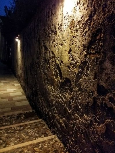 Marostica, Italy Scenic Views Walled Towns Renaissance Architecture Street Lights Wall Textures Night Shadows