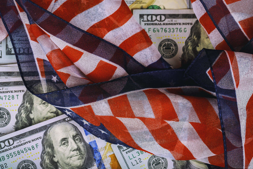 Top view american flag on us dollars of US paper currency American American Flag Dollar Sign HUNDRED United States American Culture Cash Close-up Dollar Dollars, Money Economic Exchange Finance Financial Flag Paper Currency Patriotism Savings Savings Money Us Paper Currency Wealth