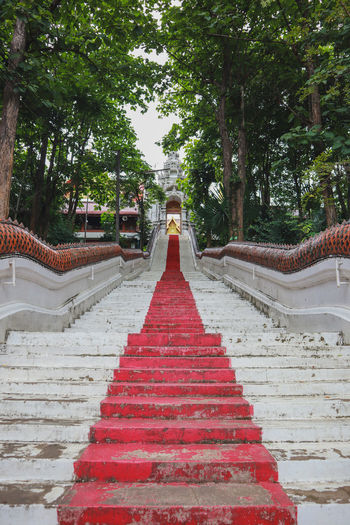 Low angle view of steps leading towards temple