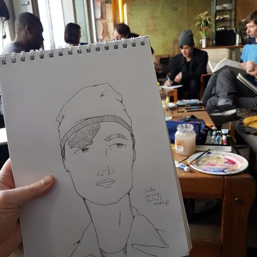 Sunday Morning Portrait Drawing MeetUp in Berlin! Betlin Portrait Drawing Meetup City Life Cafe Coffee Shop Stories From The City Working Men Occupation Workshop Skill  Artist Business Finance And Industry Craftsperson