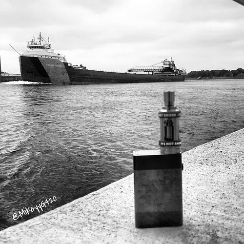 Vaping watching the Freighters cruise by :) VapeLife Vape Vapeporn Vaping Vapecommunity Freighter Ship Boat Blackandwhite Relaxing Daily Walk Highlife