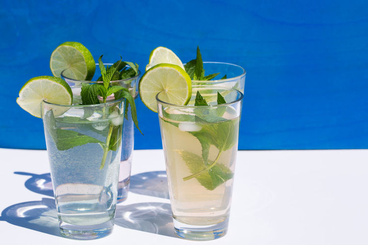 Close-Up Of Four Glasses Of Mojito