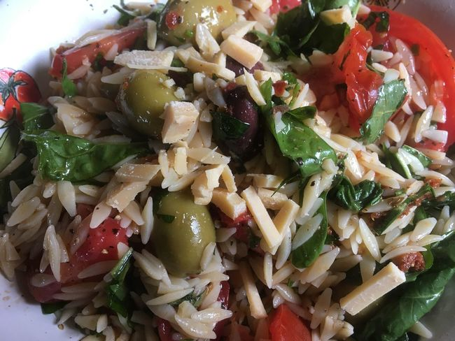 My summer salad fresh herbs from my garden aged parmigiana Orzo Olives Tomatoes Nomnombomb Italian Food Pasta For Lunch Ready-to-eat Salad Food Healthy Eating Freshness