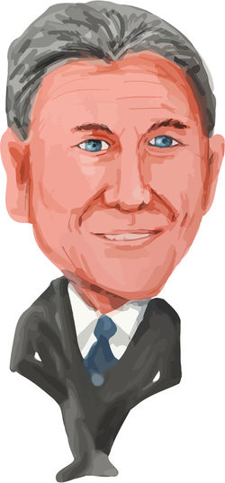 Water color caricature illustration of the President of Argentina, Mauricio Macri viewed from front on isolated white background done in cartoon style. Caricature Cartoon Front Human Face Mauricio Macri One Person President President Of Argentina Water Color White Background