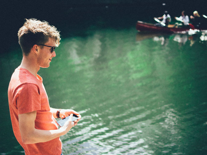 Checking phone, checking canoe Canal Pontus Phone Canoe Mayday  Man