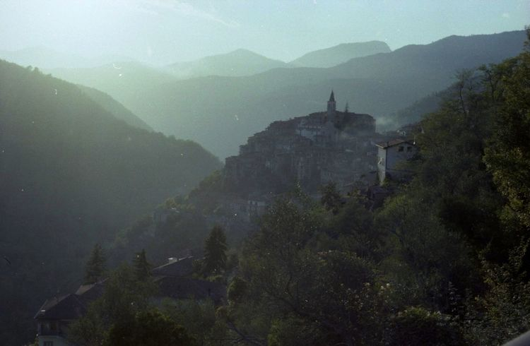 Sunset Medioeval Cities Rock Village Apricale Liguria,Italy Film Photography Mountain Fog Beauty In Nature Building Exterior