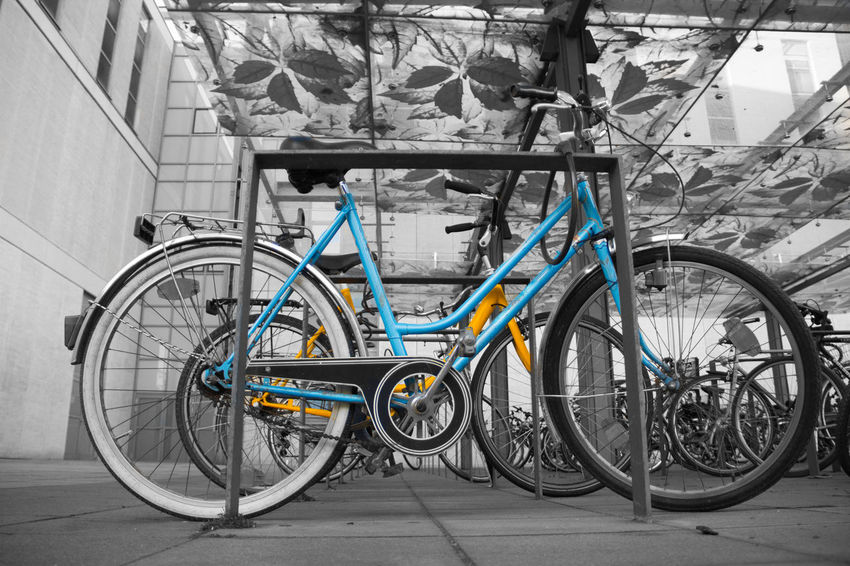 Bicycle Bike Black Black And White Blackandwhite Blue City Colors Colour Colour Of Life Coloursplash Cycling CyclingUnites Day Everyday Joy Everyday Lives Fahrrad Mode Of Transport No People Outdoors Streetphotography Transportation Weel Wheel Yellow