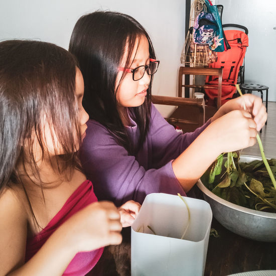 High angle view of girls cleaning vegetable at home