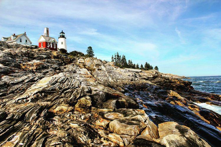 Lighthouse Sea Shore Coastline Cliff Maine Pemaquid Lighthouse Pemaquid Point, Maine Rock Formation