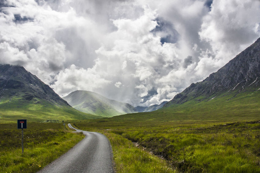 Clouds Clouds And Sky Dariomanfrinatiphotographer Dreaming Dreamland Glencoe Green Infinity Landscape Montains    Nature Road Closed Road Closed Sign Scotland Street