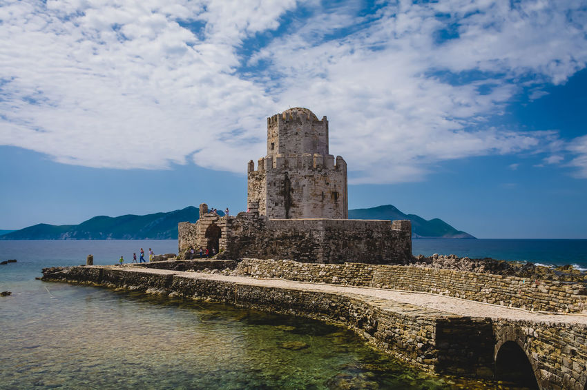 Castle of Methoni.. Ancient Ancient Civilization Architecture Beauty In Nature Building Exterior Built Structure Castle Cloud - Sky Day Greece History Methoni Mountain Nature No People Old Ruin Outdoors Scenics Sea Sky Travel Destinations Water EyeEm Selects Lost In The Landscape An Eye For Travel