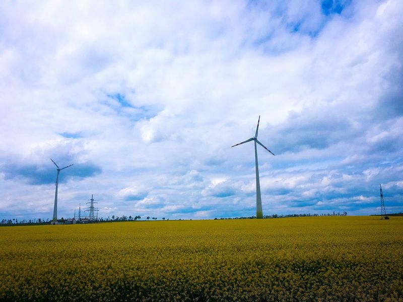 Fuel And Power Generation Alternative Energy Wind Power Wind Turbine Environmental Conservation Renewable Energy Field Cloud - Sky Sky Technology Nature Windmill Rural Scene Industrial Windmill Agriculture Landscape No People Electricity  Day Tranquil Scene