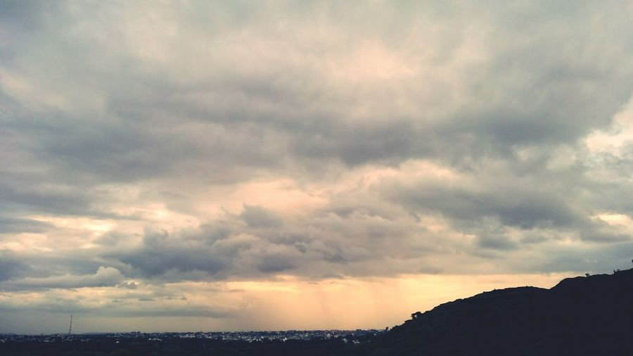 Cloud - Sky Cloudy Skies At Himmat Bag Hill Area White Color Angles And Views Outdoors Beauty In Nature Sky Nature Sundown No People High Angle View Sunset Times Skyview