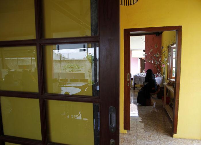 The Burqah Alone Black Burqah Frame Waiting Woman Yellow