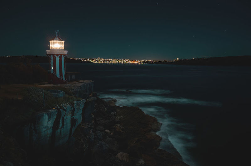 Hornby Lighthouse, South Head, Sydney. Australia Harbour MoonNights Night Photography Signal City Lights Destination Direction Guidance Hiking Adventures Hornby Lighthouse Illuminated Land Lighthouse Longtimeexposure Mysterious Night Nightscape Nightsky Sea Sky South Head Sydney Tower Water