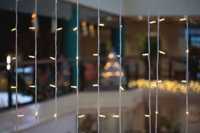 Christmas Holiday Holidays Lights Shopping Winter Wintertime Background Backgrounds Big Store Building Interior Close-up Colorful Focus On Foreground Illuminated Indoors  Night No People Softness
