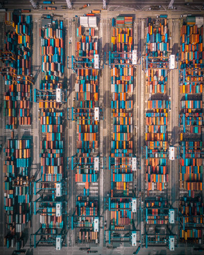Full frame shot of cargo containers at harbor