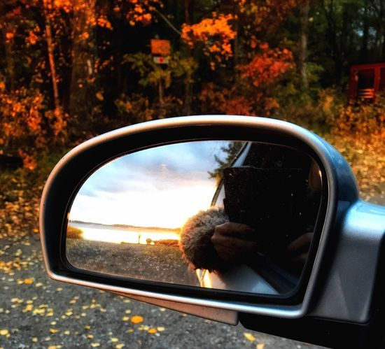 Dont Look Back Side-view Mirror Car Transportation Mirror Reflection Mode Of Transport Tree Land Vehicle Vehicle Mirror Road Day One Person Real People Photographing Outdoors Nature Photography Themes Technology Close-up People Sunset Autumn Good Morning