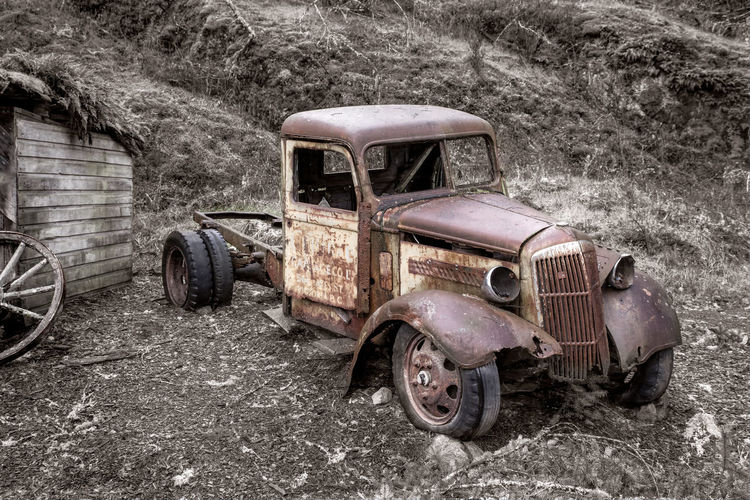 Old Truck at 17 Mile Pub Mode Of Transportation Abandoned Transportation Old Land Vehicle Obsolete Metal Rusty Run-down Damaged Day Retro Styled Motor Vehicle Stationary Decline Vintage Car Land Deterioration Car No People Wheel Outdoors Tire Ruined