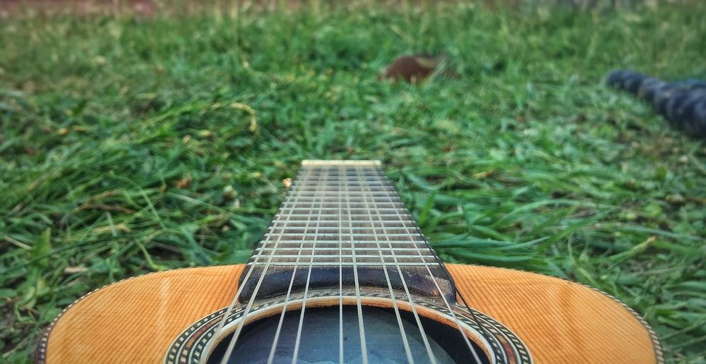 Close-up of guitar on field