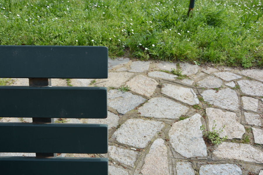 Backgrounds Beauty In Nature Bench Bench In The Garden Close-up Day Detail Empty Full Frame Grass Green Green Color Growth Lush Foliage Nature No People Outdoors Plant Stone Background Tranquility