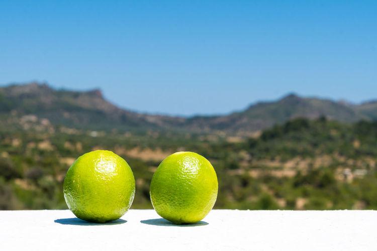 Close-Up Of Two Lemons