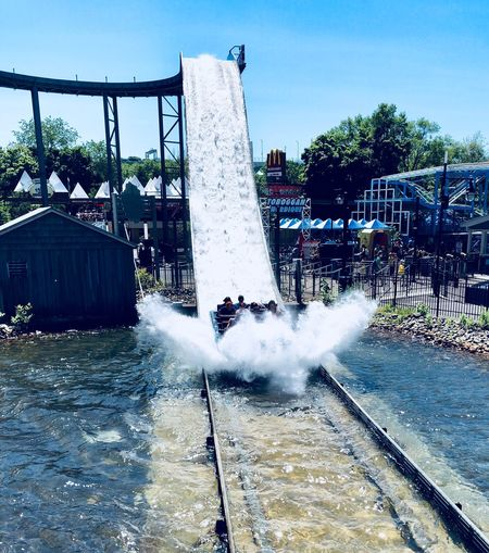 La Ronde Water Nature Sky Motion Day Architecture Tree Plant Splashing Fountain Wet Built Structure Water Park Clear Sky Spraying No People Swimming Pool Outdoors Transportation City