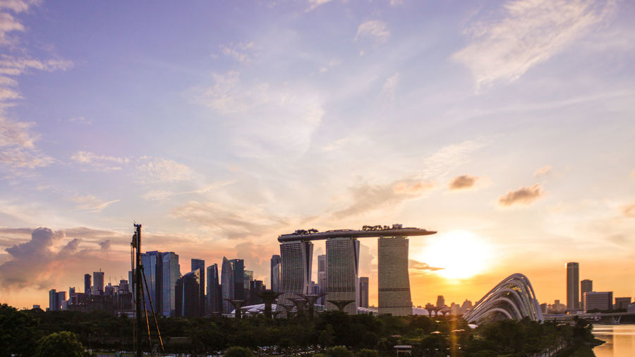 Marina Bay Sands Against Sky During Sunset